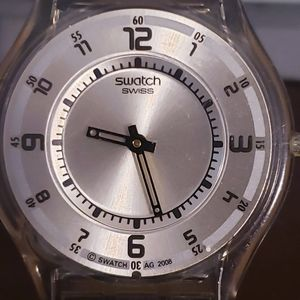 Swatch watch silver dial wleather from Switzerland